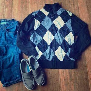 Old Navy Men's Argyle Zip Up Sweater